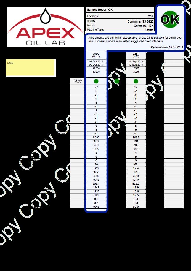 Sample Report OK Cummins ISX Engine