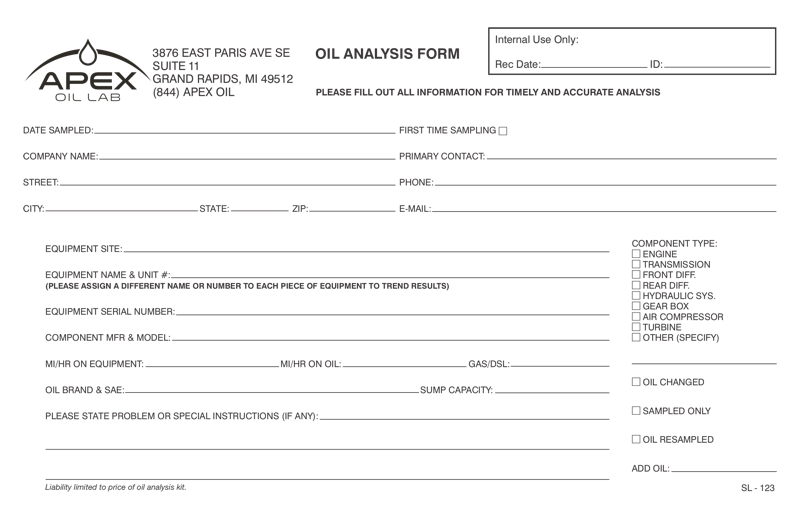 oil analysis form download